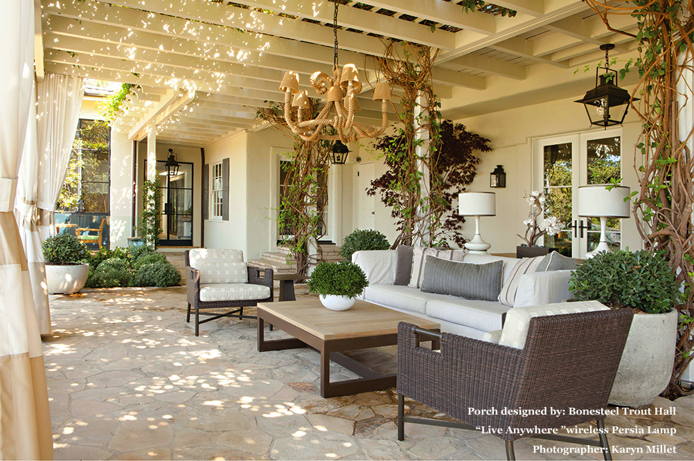 Porch designed by Bonesteel Trout Hall- with Live Anywhere Wireless Lighting