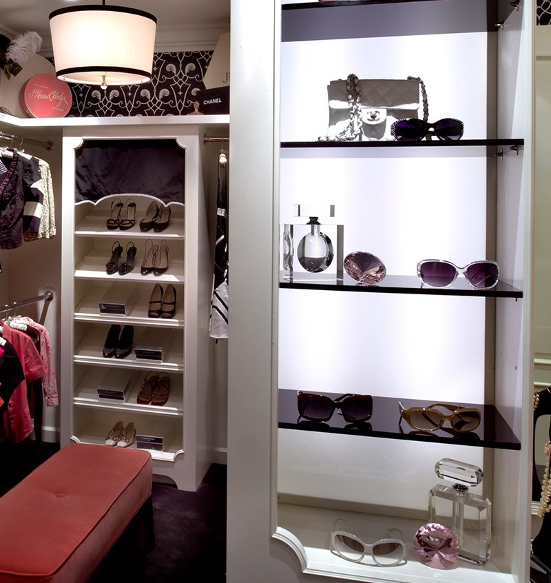 Parisian Boutique Closet Backlit Shelves Linda Allen Designs